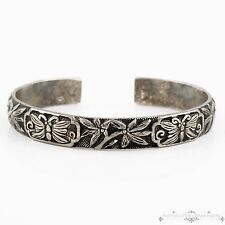 Antique Vintage Art Deco Sterling Silver Plated Butterfly Leaf & Vine Bracelet!