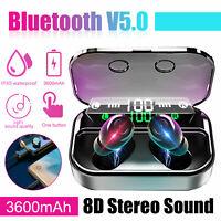TWS Bluetooth 5.0 LED Earphones Mini Wireless Earbuds Headsets Stereo Bass IPX7