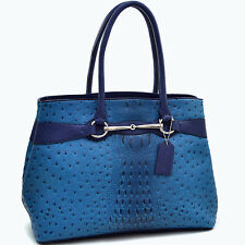 New Dasein Women Ostrich Croco Leather Handbag Tote Shoulder Bag Satchel Purse
