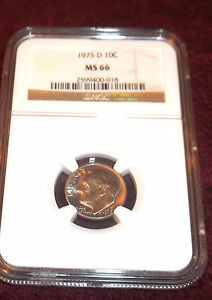 1975-D ROOSEVELT DIME NGC MS-66 WITH COLOR