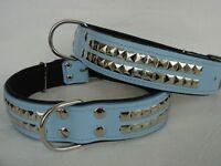 Halsband - Hundehalsband, Halsumfang 54-68cm/40mm, LEDER & Neu, Blau (13-3-5-5-8
