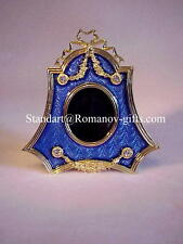 Russian Imperial style Enamel Blue & Gilt Gold Photograph Frame with case
