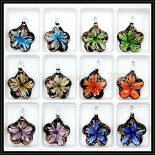 12 Pcs Lovely Five Sta Crystal Murano art glass beaded leather pendant necklace