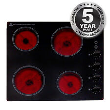 SIA CHK60BL Black 60cm 4 Zone Knob Control Frameless Electric Ceramic Hob