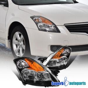 For 2007-2009 Nissan Altima 4-Door Black Headlights Replacement 07-09 Pair