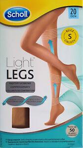 Scholl Light Legs Compression Tights for Women, 20 Denier, BEIGE,SMALL