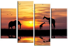 LARGE AFRICAN SUNSET SPLIT CANVAS PICTURE MULTI PANEL