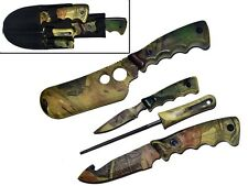NEW 4pc Camo Hunting Knife Set Butcher Skinning Pruning Knives Sharpener & Case