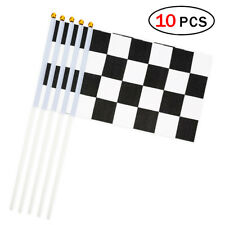 10pcs Black White Chequered Racing Hand Waving Flags Party Supply Sport 14*21cm