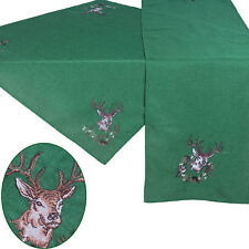 """Deer in Winter Embroidery Table runner Tablecloth 34"""" x 34"""" or 16"""" x 63"""" Green"""