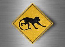 Autocollant sticker laptop macbook panneau route safari attention singe