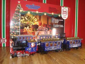 LGB 72305 BLUE CHRISTMAS PASSENGER TRAIN SET OF 3 PCS NIB NO TRACK & TRANSFORMER