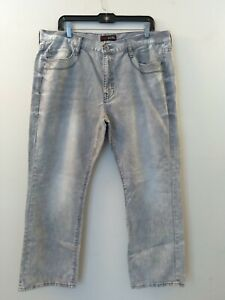 Guess Men's Regular Straight Crescent Fit Light Wash Gray Jeans Size 38x30