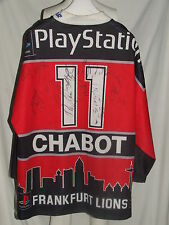 MAGLIA SHIRT TRIKOT ICE HOCKEY GHIACCIO MATCH WORN FRANKFURT LION CHABOT SIGNED