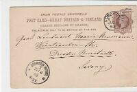 great britain 1883 london cancel stamps card ref 21374