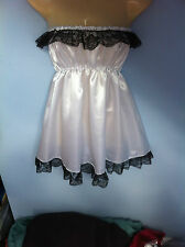 white satin dress adult baby fancy dress sissyfrench  maid cosplay fits 36-52