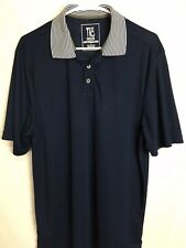 Tee Two Green Golf Men's Short Sleeve 1/4 Button Polo Shirt Blue Size Large