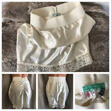 70's Lady Lynn Shiny Wet Satin Second Skin Ivory Nylon Spandex Girdle Shaper L