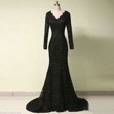 Mermaid Long Sleeve Formal Evening Gown Lace Wedding Pageant Party Prom Dresses