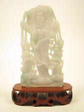 Genuine Natural Green White Jade Carving Guanyin Kwan Yin Statue #G001