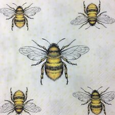 4x Paper party Napkins for Decoupage Busy Honey Bee Napkins
