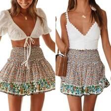 Summer Womens Floral High Waist Ruffle Mini Skirt Holiday Party Hippie Dress USA