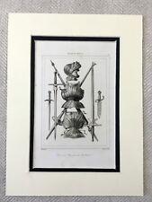 Français Militaire Casque Armure Brochet Swords Antique Gravure Imprimé 1830