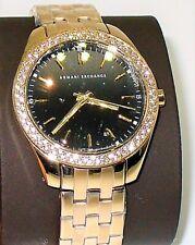 Armani Exchange Watch Womens Gold Tone Stainless Steel Black Dial Quartz AX5510