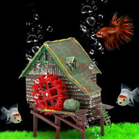 Durable Fish Tank Decoration Waterwheel Hut Aquarium Accessories Ornament NEW