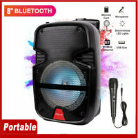 "4400W 8"" Portable Bluetooth Party Speaker Outdoor Subwoofer Heavy Bass w/ Mic"