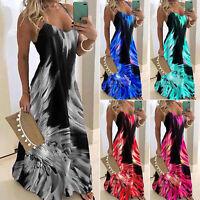 Plus Size Women's Sleeveless Strappy Boho Summer Beach Holiday Maxi Swing Dress