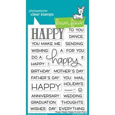 Lawn Fawn Photopolymer Clear Stamp Set ~ Happy Happy Happy  All Occasions LF1334