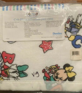 Acrylic Baby Crib Blanket Disney Babies Dundee White Mickey Mouse New