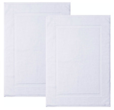 "SPRINGFIELD LINEN 100%Cotton Bath Mats 2 Pack, Bathroom Rug, 22""x34"" WHITE"