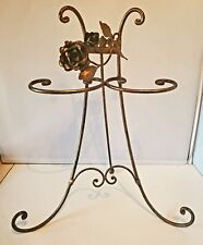 Italian Gilt Gold Roses Toleware Jewelry Display Guest Towel Holder Metal
