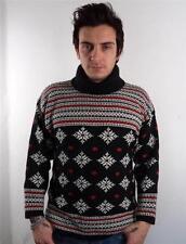 Vintage mens chunky norvégien pull knitwear sweater flocon de neige M