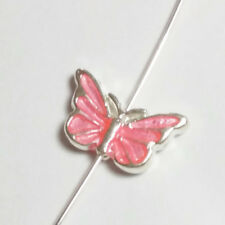 1pc Pink Enamel Butterfly Beads Silver Plated Metal Spacers 17x10mm B71160