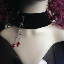 Vampire double sided velvet choker with red crystal rhinestones Extra wide 2666