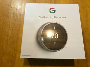 Google NEST Learning Thermostat T3007ES (3rd Gen) Stainless Steel - Sealed NEW