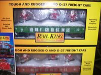 MTH 30-72194 & 72195 Red & Green Christmas Gondola's w/ LED Lights & Catalog NEW