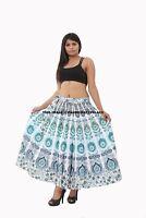 Indien Femme Rapron Paon Mandala Coton Imprimé Jupe Longue Enroulé Jupe