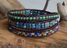 Multi-color Leather 3xWrap Bracelet Beaded Leather Wrap Bohemian Wrap Yevga