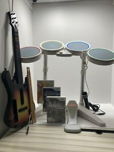 Nintendo Wii Rock Band Bundle - Drums, Guitar, Microphone & Games