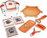NEU Genius - Salat Chef Smart Set 8-tlg weiß/orange Gemüseschneider 26263