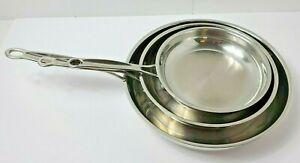 "Cuisinart Stainless Steel Frying Sauté Pans Set 8"" 10"" 11.5""  (722-20,24,115P)"