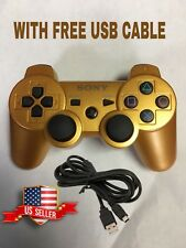 Gold Wireless Bluetooth Game Controller Pad For Sony PS3 With Free Usb Cable