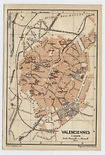 1919 ORIGINAL ANTIQUE CITY MAP OF VALENCIENNES / NORTHERN FRANCE