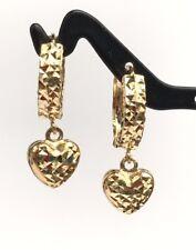 18k Solid Yellow Gold Cute Heart Drop Dangle Hoop Earrings, Diamond Cut 2.70 Gr