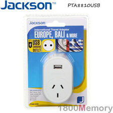 Jackson International Travel Adapter w/ USB Port Outbound Europe Bali & More