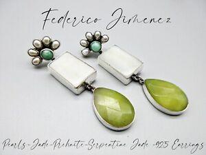 FEDERICO JIMENEZ-Pearl Cluster/ Prehnite/ Serpentine Jade-925 Tiered Earrings